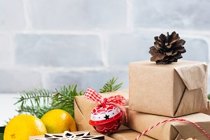 Pile of Christmas gift boxes with decor