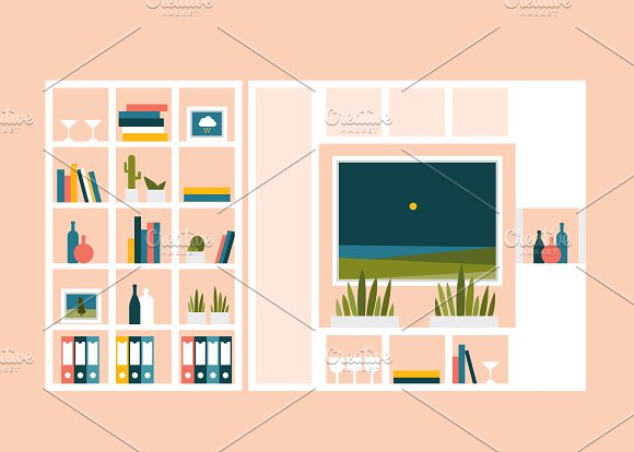 Living room illustration.