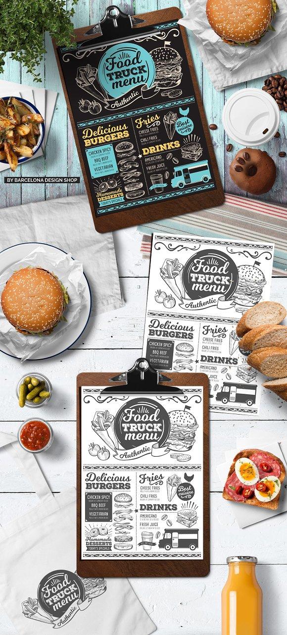 food truck menu template brochure templates creative market