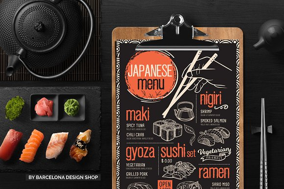 Free Trifold Asian Food Menu Brochure Templates Creative Market