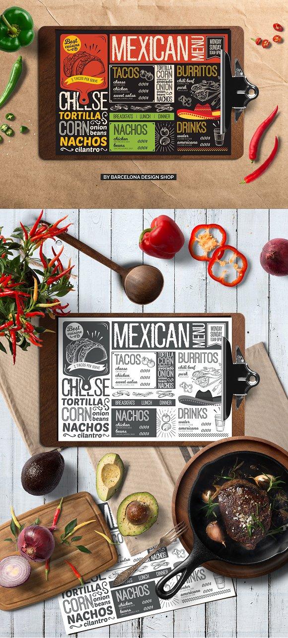 mexican food menu template brochure templates creative market
