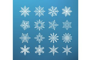 Snowflake winter isolated. Set of flake of snow on dark blue background
