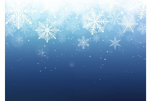 Snowflake background. Blue winter christmas backdrop