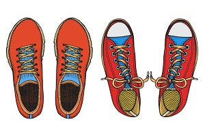 Set of red and blue sports sneakers