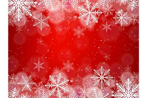Red Christmas snowflakes background with light effect