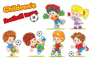 Children football, soccer vector set