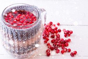 cranberry tea with hot drink snow winter knit Mug