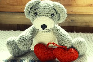 knitted toy bear hand made a couple hearts retro vintage