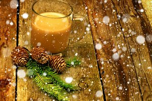 Christmas coffee with milk cocoa branches spruce cones New Year Winter snow