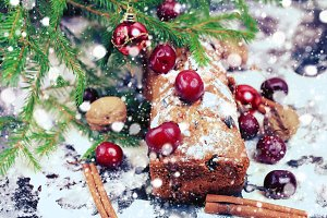 Christmas cake with cherry selective soft focus