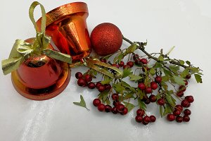 Xmas card with bells and berries