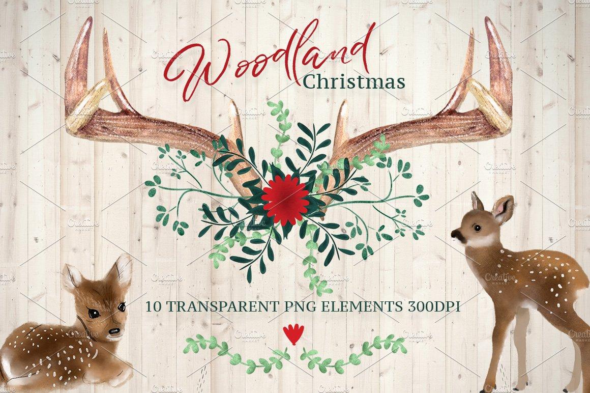 woodland christmas design elements icons creative market - Woodland Christmas