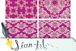 ornaments, seamless floral patterns