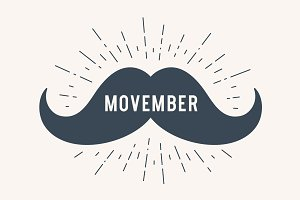 Poster and banner with text Movember and mustache
