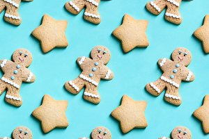 Bakery pattern. Stars and ginger man