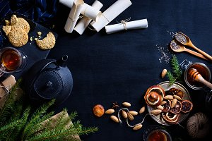 Christmas, hot drinks and pastry