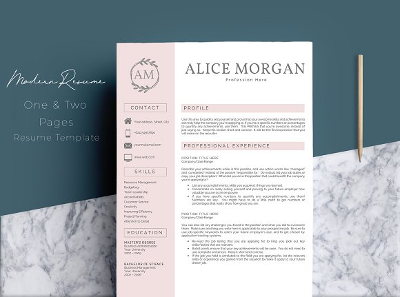 2 Pages Word Resume Template ~ Resume Templates ~ Creative Market
