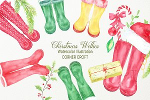 Christmas Wellies, Rubber Boots