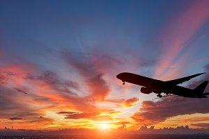 Air plane on beautiful sky