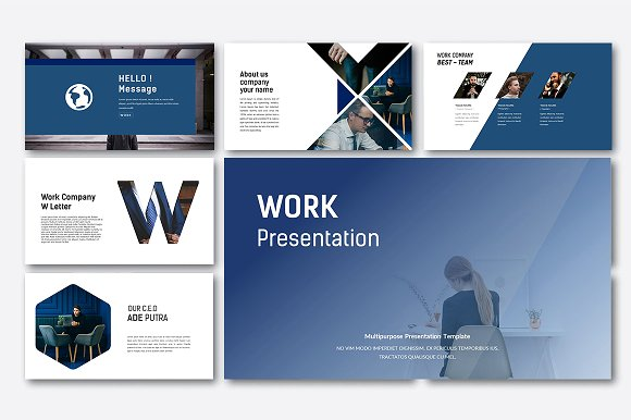 Work business powerpoint presentation templates creative market work business powerpoint presentations flashek Images