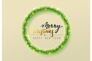 Christmas decorations, green tinsel, bright light garlands.