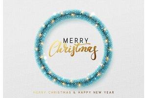 Christmas decorations, blue tinsel, bright light garlands.