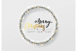 Christmas decorations, silver tinsel, bright light garlands.