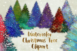 Watercolor Christmas Trees