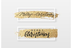 Christmas greeting card with gold glitter.