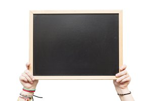 chalkboard with hand