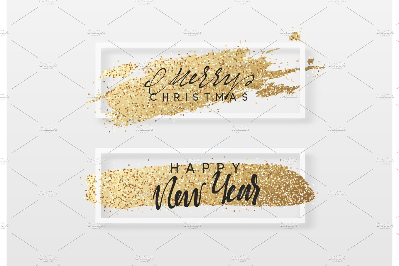 merry christmas and happy new year greeting card with gold glitter illustrations