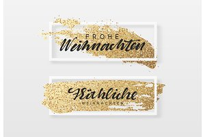 Frohe Weihnachten. Christmas background, design a smear of gold brush in frame.