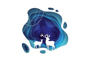 Happy New Year. Deer couple. Wild nature. Greetings Card for Christmas invitations. Circle tonnel frame in paper cut style. Origami cave. Vector