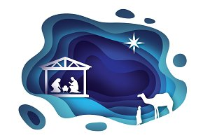 Birth of Christ. Baby Jesus in the manger. Holy Family. Magi. Three wise kings and star of Bethlehem - east comet. Nativity Christmas graphics design in paper cut style. Vector