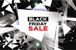 Black Friday Sale. Realistic fiery explosion. Big Sale. Discount. Trendy Geometric elemets and frame in paper cut style. For brochure, flyer. Simple geometry. Black background. Vector