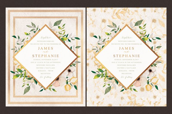 floral watercolor wedding invitation invitation templates
