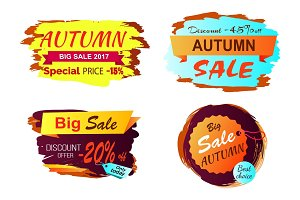 Big Autumn Sale Clearance Vector Illustration