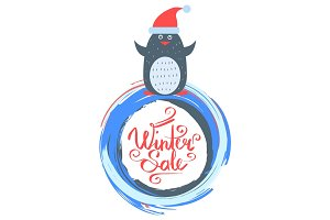 Winter Sale Poster with Penguin Wearing Santa Hat