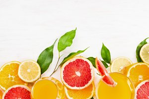 Citrus juice and fruits slice