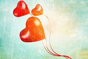 Hearts balloons fly in sky, retro