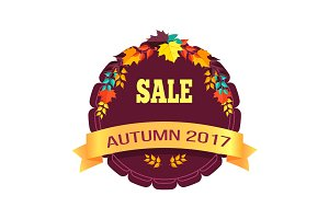 Sale Autumn 2017 Sticker on Vector Illustration