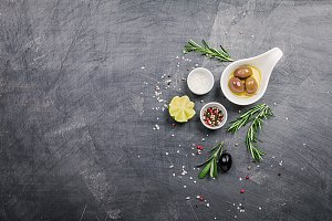 Olive oil, herbs and spices