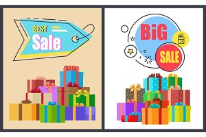 Best Big Sale Advert Labels on Banners with Boxes