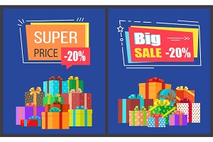 Big Super Sale Best Prices Discounts Promo Posters