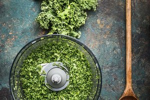 Chopped kale leaves with spoon