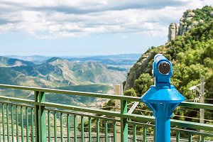 Touristic telescope in Montserrat Monastery