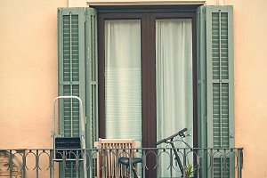 Typical spanish balcony with a bicycle