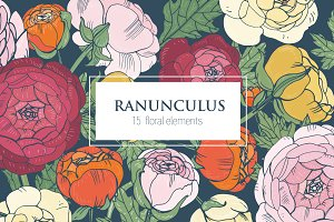 Set with ranunculus