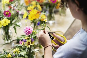 Preparing and arranging flowers