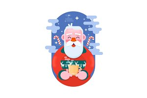 Santa Claus with cup of coffee. Flat vector illustration